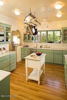 Vintage green kitchen in Linda Ronstadt's 1920s home in Tucson Arizona