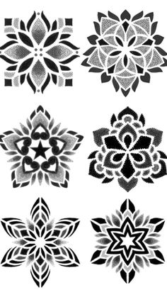 Floral Pattern Black And White Geometric Mandala Tattoo, Geometric Tattoo Design, Mandala Tattoo Design, Mandala Dots, Tattoo Designs, Tattoo Pied, Chicanas Tattoo, Tattoo Drawings, Tattoos Mandalas