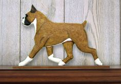 Boxer Dog Figurine Plaque Display Wall Decoration Fawn available at www.DogLoverStore.com