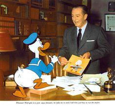 Donald Duck giving Walt Disney some advice.