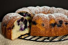Almond Blueberry Sour Cream Coffee Cake (with almond paste/marzipan in batter).