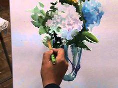 あじさいの描き方 藤井紀子の水彩画How to draw hydrangea with watercolor. - YouTube