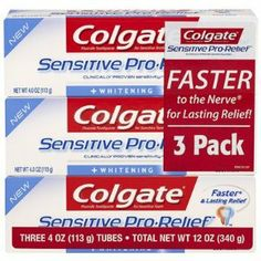 Colgate Pro-relief + Whitening Toothpaste, 3-pk Discomfort of Sensitive Teeth by Colgate. $22.20