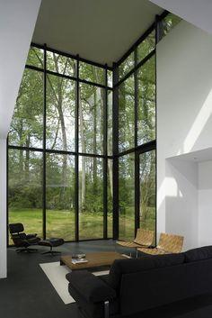 Modern Living Spaces // oversized windows in this modern interior // Black White Residence / David Jameson Architect