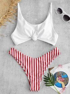Shop trendy fashion swimwear online, you can get sexy bikinis, swimsuits & bathing suits for women on ZAFUL. Bandeau Bikini, Tankini, Haut Bikini, Red Bikini, Striped Bikini, Bikini Swimsuit, Bikini Beach, Bikini Colors, Bikini Bottoms
