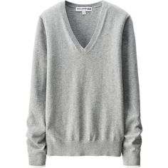UNIQLO Ines Cotton Cashmere V Neck Sweater (37 CAD) ❤ liked on Polyvore featuring tops, sweaters, shirts, uniqlo shirt, textured sweater, v neck collared shirt, shirt sweater and deep v neck sweater