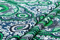Heavy mulberry silk fabricgreen white black blue by LazyRuler, $26.70 African print fabric