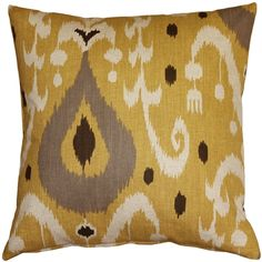 Indah, meaning beautiful in Indonesian, is the only way to describe this yellow 20 inch square ikat throw pillow. The pattern on these pillows is a contemporary take on a classic Indonesian ikat design.