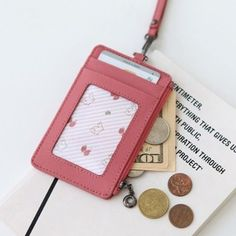ID Window Business Credit Card Holder Leather Necklace Neck Strap Lanyard Badge Id Holder, Badge Holders, Card Holders, Leather Keychain, Leather Necklace, Diy Fabric Purses, Business Credit Cards, Name Cards, Diy Cards