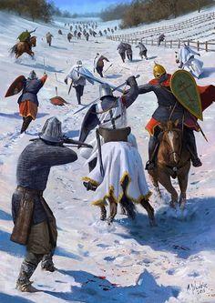Batalla de Wesenberg 1268, Los Caballeros de la Orden de Livonia se enfrentan a los rusos.