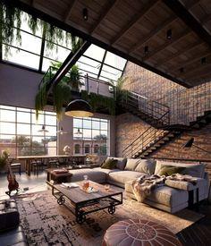 Industrial Interior Design, Industrial Interiors, Industrial House, Modern Industrial, Urban Interior Design, Gothic Interior, Flat Interior, Contemporary Interior, Appartement New York