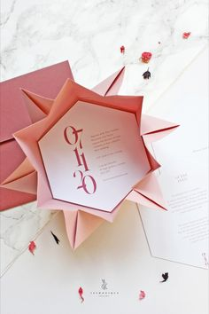 Set the tone and impress your guests with these luxurious Origami Invitation! Once opened, these origami sleeves resemble the sun, and come in a wide range of striking colours, perfect for celebrating a special occasion or event. Origami Wedding Invitations, Event Invitations, Invitation Kits, Elegant Wedding Invitations, Wedding Events, Wedding Reception, Reception Rooms, Paper Crafting, Save The Date