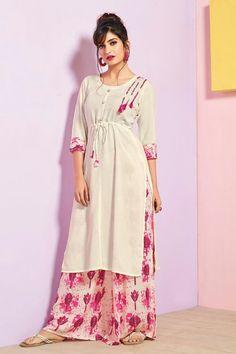 Floral White Rayon Cotton Kurti with Palazzo Pakistani Dresses, Indian Dresses, Indian Outfits, Kurta Designs, Blouse Designs, Plain Kurti, Nice Dresses, Casual Dresses, Indian Designer Wear