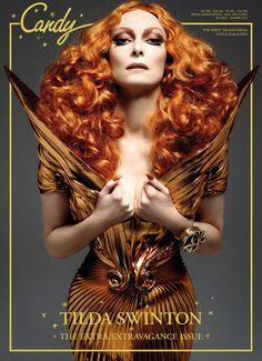 Com cabelão, Tilda Swinton posa poderosa para a capa da revista transgênera Candy
