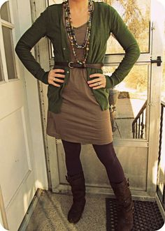 """Adorable. The purple tights are a great touch. And I think I have the same pair of boots! From the previous pinner: """"How do other people come up with these cute outfits and I just keep wearing black and grey? No, seriously!"""""""