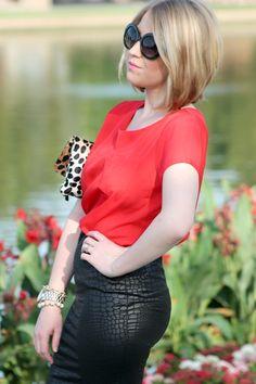 high waisted skirt + Clare Vivier clutch