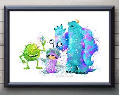 Disney Monsters Inc Mike and Sully and Boo Watercolor Painting Art Poster Print Wall Decor https://www.etsy.com/shop/genefyprints