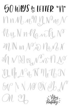 50 ways to letter N Hand Lettering 101, Brush Lettering Worksheet, Lettering Guide, Hand Lettering Practice, Hand Lettering Tutorial, Hand Lettering Alphabet, Doodle Lettering, Creative Lettering, Types Of Lettering
