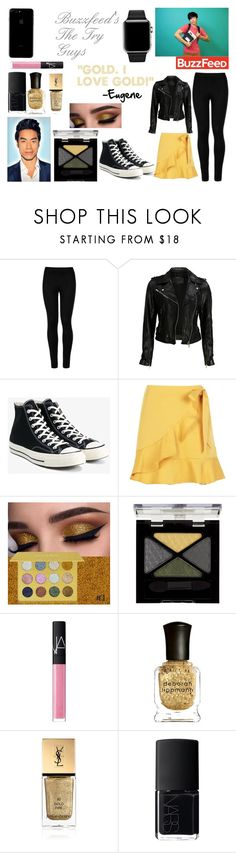 """""""Eugene from The Try Guys"""" by skywarrior365 on Polyvore featuring Wolford, VIPARO, Converse, Boohoo, Rimmel, NARS Cosmetics, Deborah Lippmann and Yves Saint Laurent"""