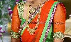 Stylish bridal saree blouse with elbow length transparent sleeves with embellished sleeve borders and shoulders