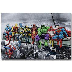 Almoço No Topo de um Arranha-céu Da Cultura Pop Art Engraçado Seda Cartaz Impressão 13x20 24x36 polegadas de Liga Da Justiça super-heróis Anime Fotos