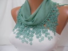 Women  Green Cotton Shawl / Scarf  Headband  Cowl with by DIDUCI, $14.50