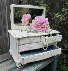 Vintage Shabby Cottage Jewelry Box by UnderTheSycamores on Etsy