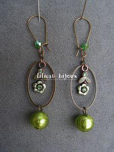boucles d'oreilles fleurs et perles feuilles d'argent vertes : Boucles d'oreille par lilicat