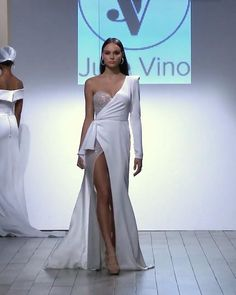 """Embroidered Slit Asymmetric Sweetheart One Shoulder Wedding Dress / Wedding Gown with one long Sleeve and a Train. Bridal Couture Collection """"Bellagio"""" Runway Show by Julie Vino. Glam Dresses, Stylish Dresses, Elegant Dresses, Fashion Dresses, Dream Wedding Dresses, Wedding Gowns, Couture Fashion, Runway Fashion, Gowns Of Elegance"""