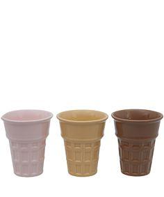 Fishs Eddy Set of Three Ceramic Ice Cream Cones | Tableware | Liberty.co.uk