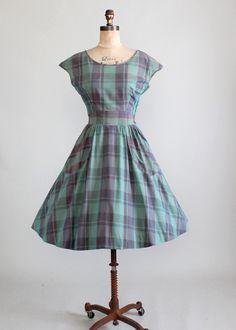 Vintage Early 1950s Jonathan Logan Plaid Dress
