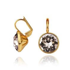 Classic Rose Gold Plated Round Crystal Stud Earrings for Women GPSE171