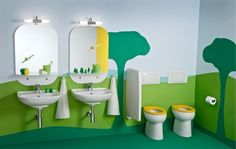 Children's bathroom with a extravagantly playful and vivid theme