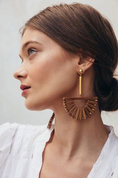 Beautiful bamboo drop earrings in our classic Ark shape. Gold-plated sterling silver backing 3""