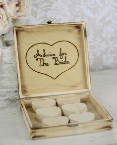 Bridal Shower Guest Book Rustic Chic Wedding Decor Advice Box. $49.99, via Etsy.