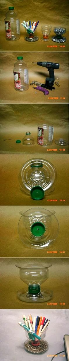 Recycling Plastic Bottle Pencil and Paper Clip Holder