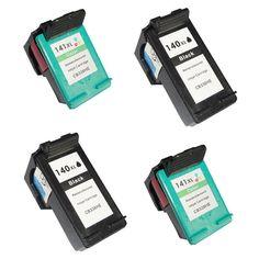 4pk Ink Cartridge For HP 140 141 for HP OfficeJet C4283 C4343 C5283 D5363 6413 J5783 DeskJet 5363 D4263 printer for hp140 xl #Affiliate
