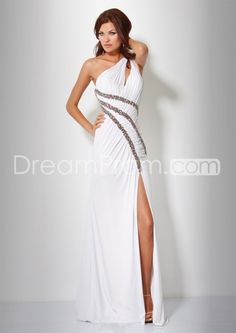 Chic A-Line Floor-Length One-Shoulder Empire Waistline Prom Dresses