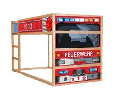 Mit dem Feuerwehrauto Möbelsticker / Aufkleber für KURA von IKEA verleihst Du deinem Kinderzimmer im Handumdrehen einen Feuerwehrbett Look.