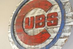 Rustic Chicago Cubs Baseball Logo The Cubbies by SportsWallArt