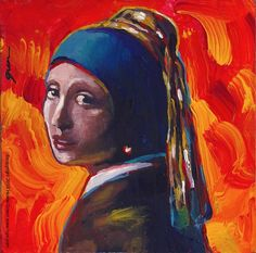 Girl with the Pearl Earring Pop Art painting by Howie Green