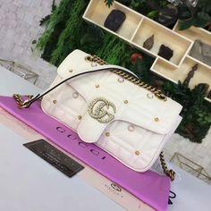 Gucci GG Marmont Small Matelasse Shoulder Bag 443497 White Gg Marmont, White P, Gucci, Shoulder Bag, Bags, Fashion, Handbags, Moda, Fashion Styles