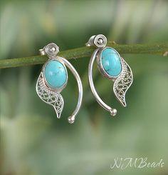 Fine Silver Filigree Stud Earrings With by NMBeadsJewelry on Etsy
