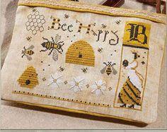 "THE PRIMITIVE HARE ""Bee Happy"" | Cross Stitch Pattern | Bee, Honey Bee, Bee Hive, Bee Skep, Honeycomb, Flowers, Beekeeper **Arriving Soon**"