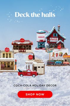 Decorate your tree and gifts this year with festive Coca-Cola Ornaments! Choose from a variety of designs to incorpoate in your holiday celebrations! Coca Cola Store, Coca Cola Santa, Coca Cola Christmas, Coca Cola Light, Christmas Village Accessories, Coca Cola Decor, Always Coca Cola, Deck The Halls, Flowers Garden
