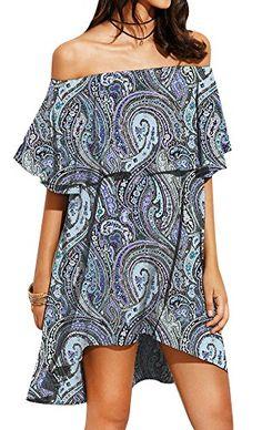 Spadehill Women's Casual Off The Shoulder Print Mini Dress
