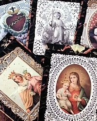 French Holy Card Glittered Gift Tags© Set of 6-tag, silver, madonna, jesus, religious,lace,paper,marbled,napking, rings, favors,tea, goods, baked, party,bookmark, toile, du, jouy,holidays, year, round, christmas,mary,virgin,infant, immaculate, heart