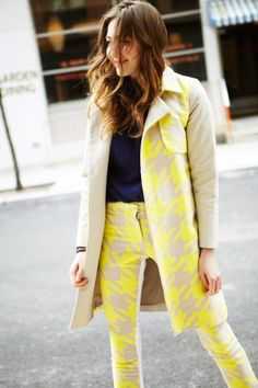 Matching coat and pants in large neon houndstooth print! Gaaaahh!!