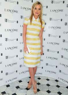 Little Miss Sunshine TV presenter Laura Whitmore looked lovely in a yellow and white striped dress with a cute Peter Pan collar Laura Whitmore, Little Miss Sunshine, Tv Presenters, Lily Collins, Red Carpet Fashion, Striped Dress, Preppy, Celebrity Style, Floral Prints