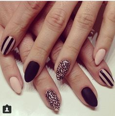 Matte black and nude nail design